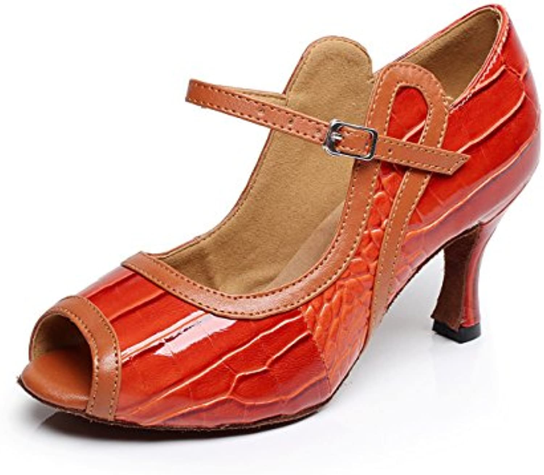 JSHOE Salsa/Tango/Tea/Samba/Modern/Jazz Shoes Sandalias Tacones Altos Para Mujer,Red-heeled7.5cm-UK4.5/EU36/Our37