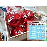 TOKPERSONAL 6 Nombres Adhesivos y 6 Copos DE Nieve Adhesivos para Pegar en Tus Bolas de Navidad (Solo Incluye LOS Nombres Y C
