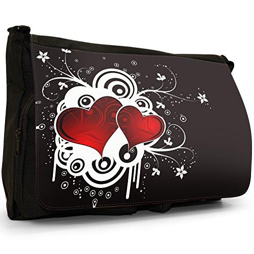 Nero cuori borsa scuola grande nero Angel Hearts 2 Red Hearts On Grunge Background