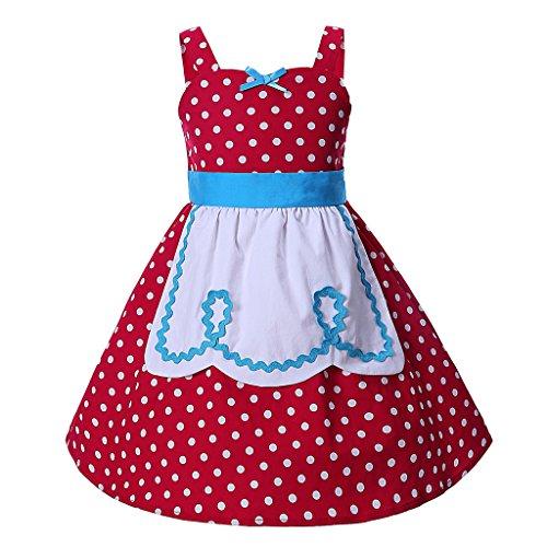 Pettigirl Mädchen Prinzessin Kleider Polka Punkt SchickAnkleiden Halloween Party Dirndl Kleider 5 (Prinzessin Junior Kostüme Halloween)