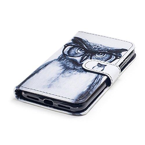 Custodia iphone X Cover ,COZY HUT Flip Caso in Pelle Premium Portafoglio Custodia per iphone X, Retro Animali di cartone animato Modello Design Con Cinturino da Polso Magnetico Snap-on Book style Inte Occhi Owl