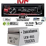 LKW Bus Truck 24V 24 VOLT - JVC KD-DB67 - DAB+ USB Autoradio inkl. DAB+ Digitalradio Antenne - Einbauset