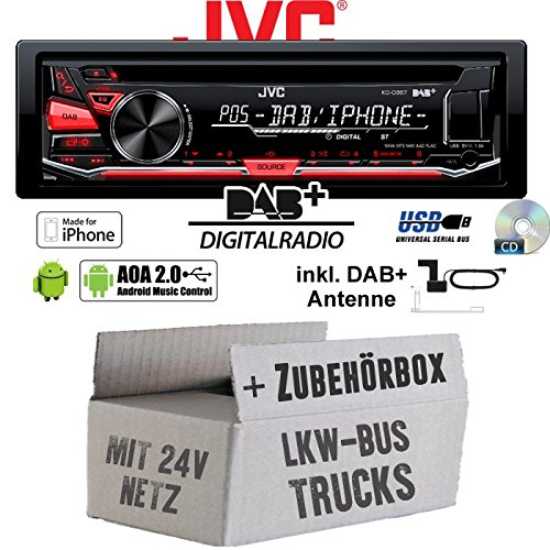 LKW Bus Truck 24V 24 VOLT - JVC KD-DB67 - DAB+ USB Autoradio inkl. DAB+ Digitalradio Antenne - Einbauset (24 Radio Volt)