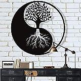 DEKADRON Decadron Décoration Murale en métal Arbre de Vie Décoration Murale en métal Yin Yang Décoration Murale en métal Décoration intérieure, tentures murales 30' W x 30' H / 75x75 cm Noir