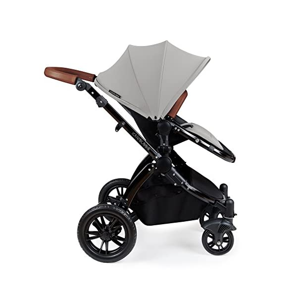 Ickle Bubba Stroller Stomp V3 iSize All-in-One iSize Baby Travel System | Car Seat w/ Isofix Base, Rear and Forward-Facing Pushchair, Carrycot | Silver on Black Frame Ickle Bubba All-IN-ONE TRAVEL SYSTEM: This stylish and attractive two tone complementary design features carrycot, reversible pushchair, and Mercury i-Size car seat. Easy-click release allows for quick transitions between car and stroller. Includes an ISOFIX Base. LIGHTWEIGHT WITH PUNCTURE FREE FOAM TIRES: : 6.5kg chassis with foam wheels allows for a smooth ride, includes an easy press and release single step foot brake locking system FORWARD AND PARENT FACING TODDLER SEAT WITH ALL WEATHER PROTECTION: Multi-position recline allows your child to lie comfortable for naps or sit upright to take in the sights. Protect from rain or shine with a collapsible weather cover. 5