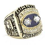 Quoouz 1990 Herren New York Fußball Titan Stahl Kristall Meisterschaft Golden Ringe,Größe 57 (18.1)
