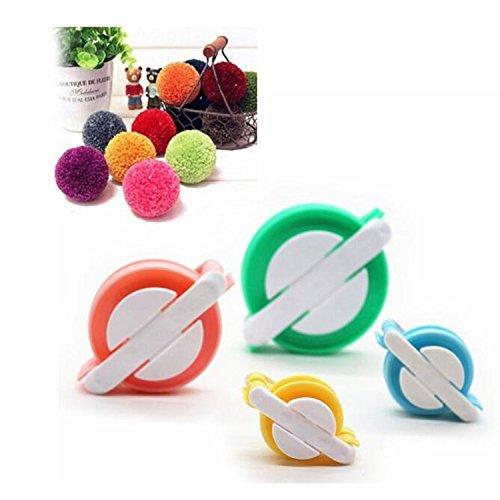 Pom Pom, Efly 4pcs diverse dimensioni DIY Fluff Ball Weaver Needle Craft Pompon e gomitolo di lana Tool Set pompon Maker per te e il tuo bambino, No 2