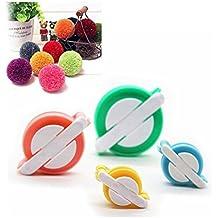 Efly - 4 utensilios para hacer pompones de lana de diferentes tamaños para tu hijo y tú., azul, verde, rosa, No 2