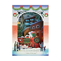 Idea Regalo - Biglietto di Natale pop-up 3D di Hallmark - Design con Wonder Santa's Steam Engine