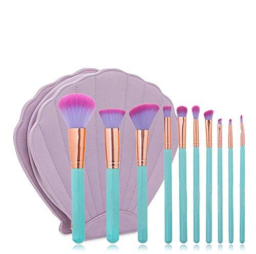 Lot de 10 Cosmetics Fond de teint Pinceaux de maquillage Premium Poudre Pinceaux pour maquillage avec Shell Cosmétique Sac (Rose)