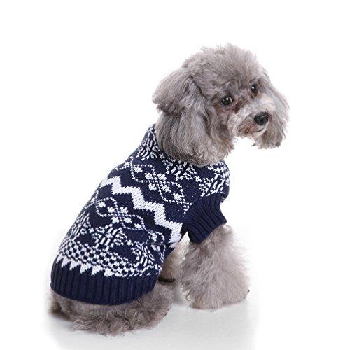 selmai Schneeflocke Rollkragen Pet Urlaub Weihnachten Strickwaren Puppy Winter Pullover Jumper für kleinen Hund Katze (Wolle Urlaub)