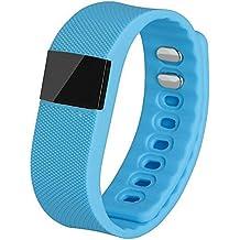 TW64 Bluetooth Smart muñeca reloj pulsera ejercicio corriendo pulseras deportes relojes celular Mate con podómetro actividad Tracker control anti-perdida sedentarios función de apagado para iPhone 5S 6 Plus HTC uno M8 Huawei Samsung Galaxy nota 5 azul
