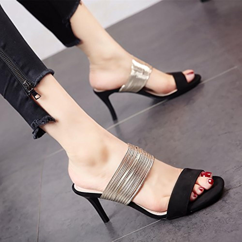 YMFIE Señoras zapatillas de tacón alto estilo europeo fideos de satén de moda de verano high heels trenza metálica... -