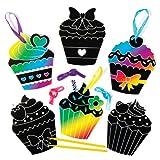 """Kratzbild-Bastelsets mit """"Cupcakes""""-Aufhängern für Kinder zum Gestalten und Basteln – Kreatives Bastelset für Kinder (8 Stück)"""