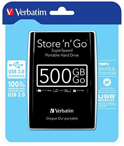 Verbatim 53029 500 GB Store n Go USB 3.0 2,5-Zoll-Festplatte - Schwarz