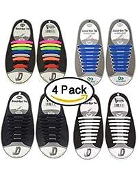 Paquete de 4 sin corbata Cordones de zapatos para niños y adultos Impermeables cordones de zapatos