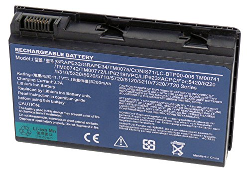 11.1 V 5200 mAh sostituire Laptop GRAPE32 GRAPE42 TM00741 TM00751 CONIS71 CONIS41 per Acer TravelMate 5220 5520 5310 5320 5330 5710 5720 7220 7320 7520 7720 Acer Extensa 5210 5220 5230 5420 5430