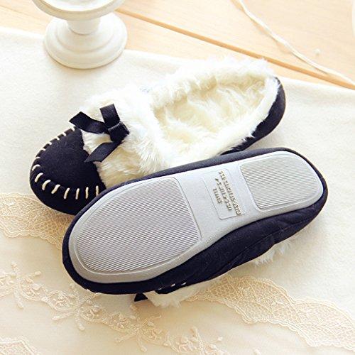 Fortuning's JDS Donne delle signore delle ragazze Accogliente pelle scamosciata rimonta velluto casa Calzature arco comodo Flatform pantofole Nero