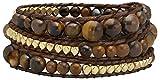 Sun Lifestyle Top Modisches Wickel Damen Armband mit Steinen Modeschmuck Größe Verstellbar (3-Fach Wickel) (Braun)