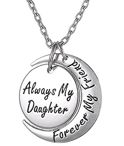 Always My Daughter Forever My Friend Inscribed Silver Tone Pendant Necklace by Glamour Girl Gifts Collection