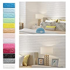 Idea Regalo - KINLO 20 pezzi 3D Carta da Parati 70cm x 77cm Mattoni Autoadesiva ispessito PE Foam pannelli Adesiva Muro di Mattoni DIY Wall Stickers Decorazione da Muro (Bianco)