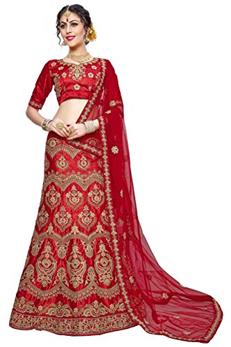 Women'S Red Color Embroidered LehengaSKQN5427