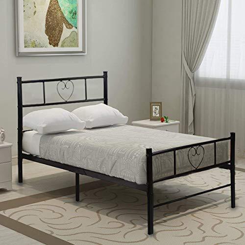 Aingoo Bettgestell 90 x 190 cm Einzelbett mit Lattenrost für Gästezimmer Schlafzimmer Bett In Schwarz Herz Symbol Muster