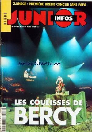INFOS JUNIOR [No 184] du 08/03/1997 - LES COULISSES DE BERCY - ZOOM - LA LOI DEBRE SUR L'IMMIGRATION - INFOS - PREMIERE SCIENTIFIQUE MONDIALE - DOLLY, UNE BREBIS SANS PAPA - REPORTAGE - ALEXANDRE ET SYLVAIN ONT FAIT LE TOUR DU MONDE A BICYCLETTE, EN UN AN JOUR POUR JOUR - DECOUVERTE - LES COULISSES DE BERCY - DE TOI A MOI - FUMER, CA NE SERT A RIEN - PRATIQUE - MAGIE - LES CLEFS BALADEUSES - JEUX - LES JEUX DU STADE - JEU-TEST - LIVRE-TOI ! - BD - LES DEMONS DE ROQUEBR par Collectif