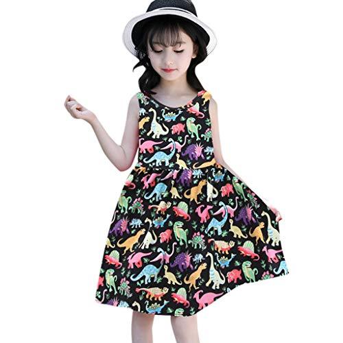Baby Kleid Sasstaids Mädchen Kleid Ärmelloses Cartoon Dinosaurier Rockkleid Sommer Kleinkind Baby Mädchen Sleeveless Karikatur Dinosaurier Druck Kleid kleidet Kleidung