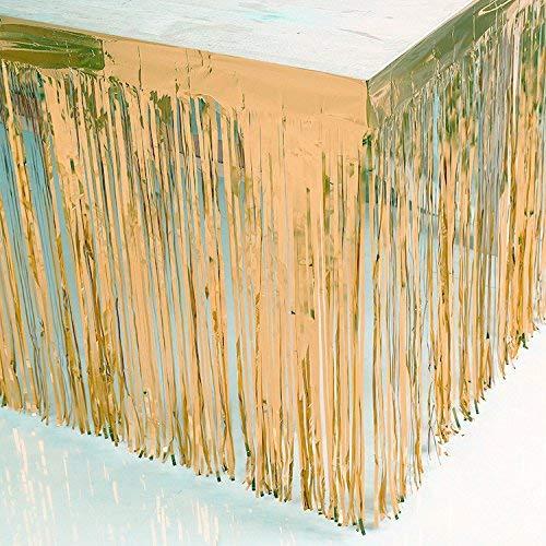 Blukey Tischrock mit Fransen, Metallic-Folie, 73,7 x 274,3 cm 29x108-Inch champagnerfarben (In Hollywood Halloween Store)