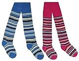 Tobeni 2 Paar schöne warme Thermo Strumpfhosen für Mädchen und Jungen Farbe 1x Jeans 1x Pink Grösse 98-104
