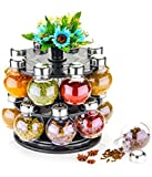 Mr Products Multipurpose Revolving Plastic Spice Rack 16 Piece Condiment Set - Metallic Siver Finish