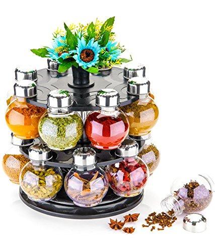 MR Premium Multipurpose Revolving Plastic Spice Rack 16 Piece Condiment Set – Metallic Siver Finish