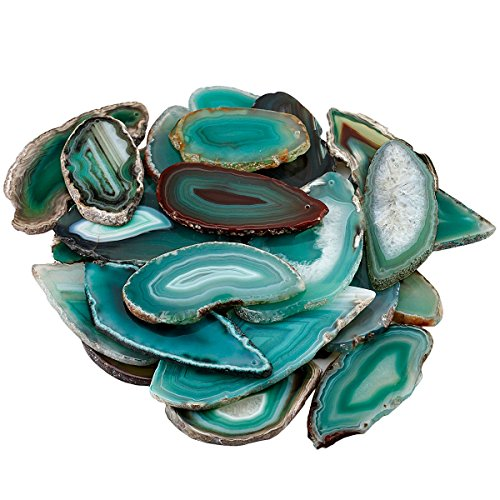 Mookaitedecor 10pcs agata fette di cristallo per la creazione di gioielli, artigianato geode pietra ciondolo per collana ciondoli fai da te decorazione, top forato green/top drilled(1.7-3.1