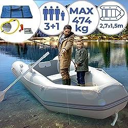 Bateau Gonflable avec Moteur Hors-Bord - 4 Personnes, Capacité max. 536 kg, 320x152cm, 2 Rames en Aluminium et Pompe, Moteur 46/50/55/86 LBS - Bateau de Pêche, Pneumatique, Moteur Électrique