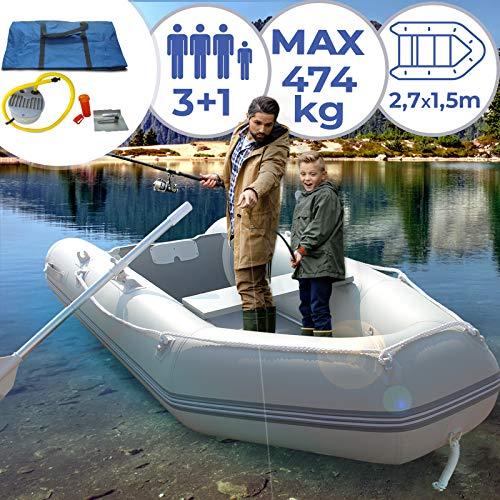Schlauchboot für 3 Personen | 270x152cm, mit 2 Alupaddel, Fußluftpumpe, bis 474 kg, mit Holzboden, für 3 Erwachsene und ein Kind | Ruderboot, Paddelboot, Gummiboot, Sportboot, Angelboot