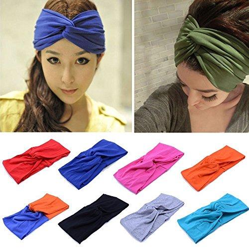 TININNA Mode Serre-Tête Bandeau Cheveux Femme Elastique Turban Coton Tissu Foulard Wrap Headwrap Noir+Gris