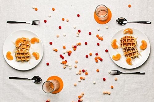 SMACC Filzuntersetzer, rund 8er Set (Farbe wählbar) – Glasuntersetzer aus 100% Wollfilz für Bar und Tisch (Orange)
