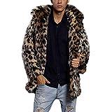 Herren Leopard Warm Pelzkragen Mantel Jacke Faux Fur Parka Mehrfarbig Outwear Strickjacke Mantel