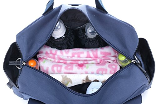 2Pcs CLD MENGMA Baby Diaper Nappy Changing Bag Mommy Messenger Bag with Mat Red Dunkelblau