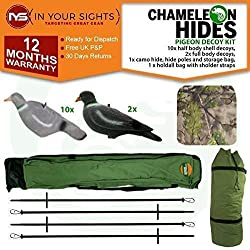 Chameleon Hides Leurre Pigeon Kit Inclus Hide Acier, Hide Poteaux, Decoys & Sacs