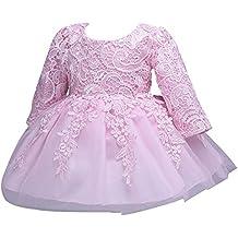 ZAMME Princesa Dress Primera comunión manga larga del cordón de la flor de Tulle del bebé