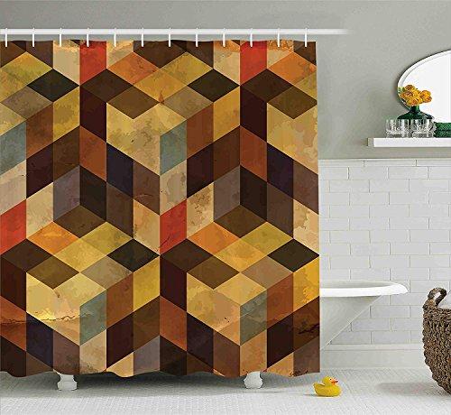 Nyngei Modernes Dekor Duschvorhang geometrisch geformte Linien Quadrate Chevron Grafik Kunstdruck Stoff Badezimmer Dekor Set mitAprikose Kakao braun dunkelorange - Kakao-winkel