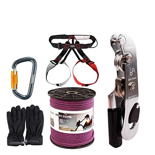 GYHHHM Seilset, Downhill Equipment Manual Control Descender Static Rope Lifeline Survival Descending Rock Climbing Rescue Set 10m