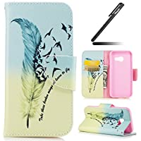 Galaxy A3 2017 Case, Ukayfe Black Wallet Case for Samsung Galaxy A3 2017, Blue Feather Birds Design PU Leather Case, Flip Folio Book Case, Money Pouch Wallet Cover with Stand Function, Card Slots & ID Holder and Magnetic Closure for Samsung Galaxy A3 2017 with 1 x Black Stylus