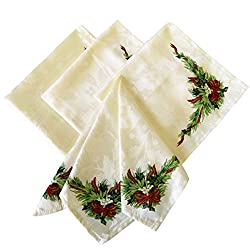 Benson Mills Christmas Ribbons Engineered Printed Fabric Napkins, Set of 4, 19x19