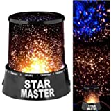 CONNECTWIDE® Star Master, Star Master Colorful Romantic LED Cosmos Sky Starry Moon Beauty Night Projector Bed Side Lamp With USB Cable (Black),1 Piece, Size;(12*12*10 Cm)