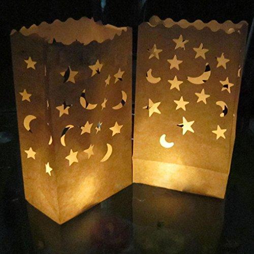 Provide The Best Doppel-Herz-Stern Flammenhemmende Papier Kerze Partei Luminary Tasche Feuerbeständige Tasche