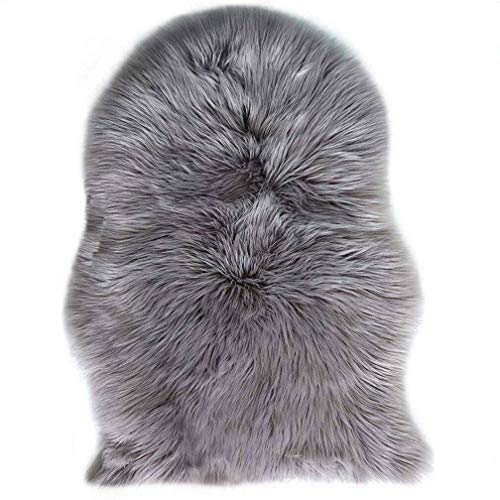 TIDWIACE® Grau Faux Lammfell Schaffell Teppich Longhair Fell Nachahmung Wolle Bettvorleger Sofa Matte 60 x 90 cm Lammfellimitat Teppich -
