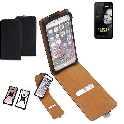 K-S-Trade Flipstyle Hülle für FANTEC Boogy Handyhülle Schutzhülle Tasche Handytasche Case Schutz Hülle + integrierter Bumper Kameraschutz, schwarz (1x)